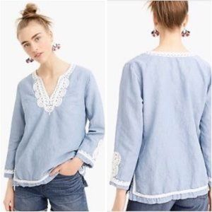 J. Crew Point Sur Chambray Embroidered Blouse L